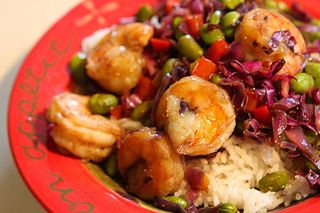 stir fried shrimp and edamame